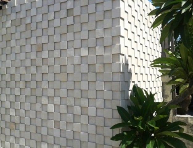 Unique Wall with White Limestone